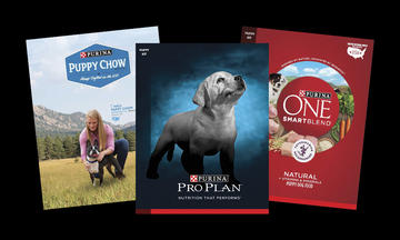 Purina puppy dog food packages - puppy chow, pro plan, purina one